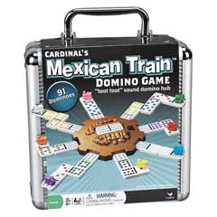 Mexican Train Dominoes In Aluminum Case
